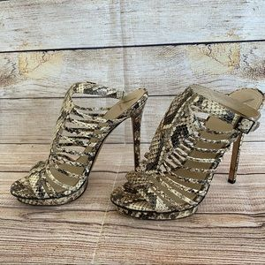 BRIAN ATWOOD B Snakeskin Leather Cage Heels